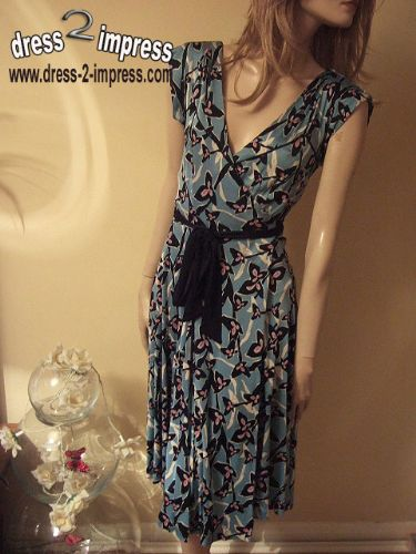 DIANE VON FURSTENBERG HEERLEN Wrap Dress Teal DVF 10 UK 14